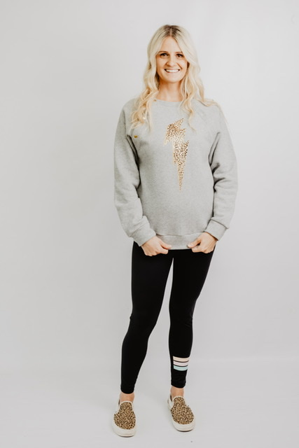leopard print grey breastfeeding sweatshirt