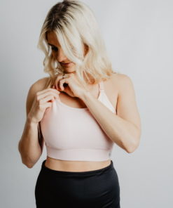 Train- adjustable back breastfeeding sports bra pink