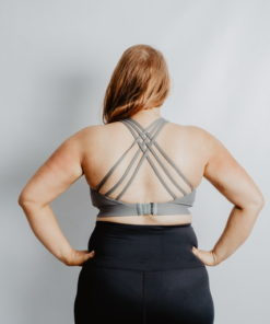 breathe scrappy grey breastfeeding sports bra
