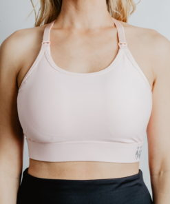 Train- adjustable back breastfeeding sports bra pink