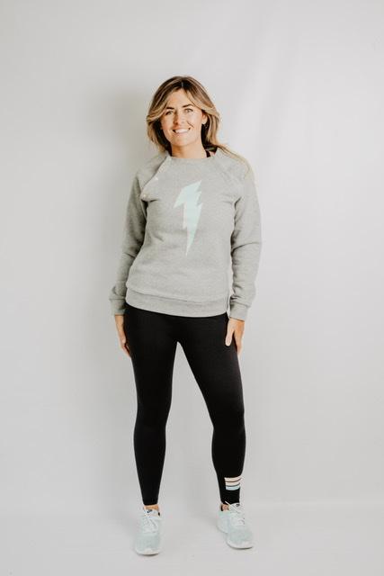 retro bolt grey breastfeeding sweatshirt